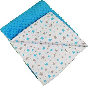 Kuscheldecke Minky Sternchen-Blau