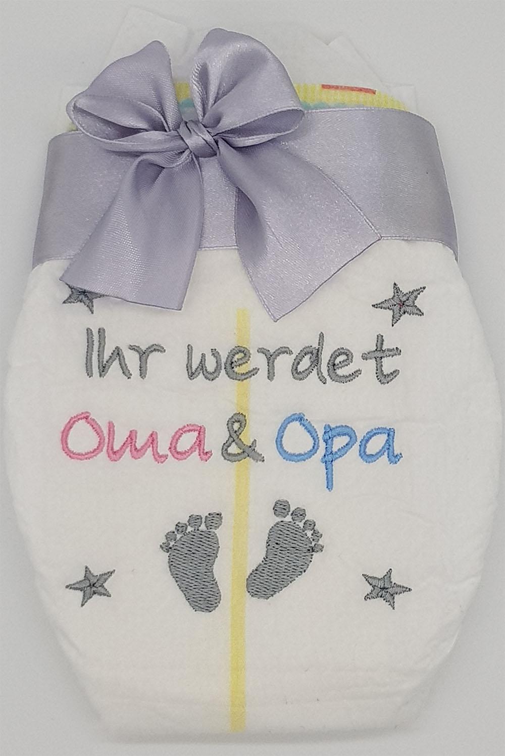 Ihr werdet Oma und Opa Bestickte Windel